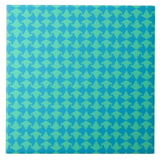 Chic Aqua and Turquoise Islamic Geometric Pattern Large Square Tile
