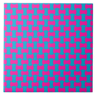 Chic Aqua and Turquoise Islamic Tessalated Pattern Large Square Tile