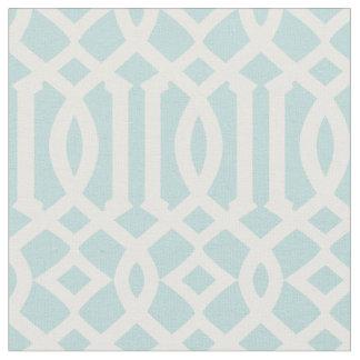 Chic Aqua and White Trellis Lattice Pattern Fabric