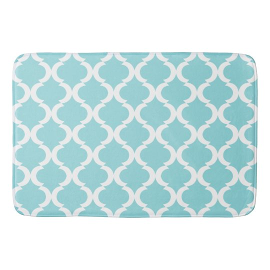 Chic Aqua Blue Large Qautrefoil Pattern Bath Mats