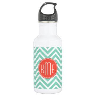 Chic Aqua Green Chevron and Orange Custom Monogram 532 Ml Water Bottle