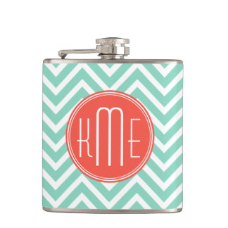Chic Aqua Green Chevron and Orange Custom Monogram Hip Flask
