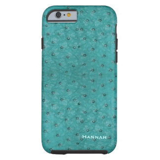 Chic Aqua Ostrich Leather Look iPhone 6 Case