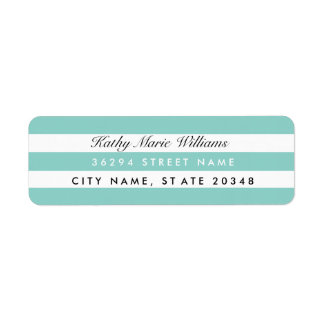 Chic Aqua Striped Address Labels