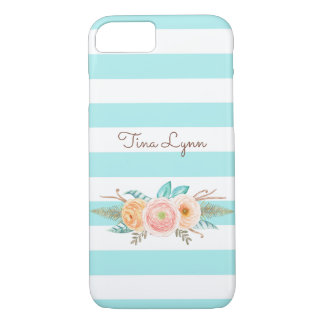 Chic Aqua Stripes Feminine Floral and Name iPhone 8/7 Case
