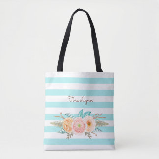 Chic Aqua Stripes Feminine Floral and Name Tote Bag