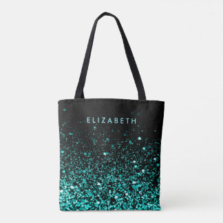 Chic Aqua Teal Blue Green Glitter Black Tote Bag