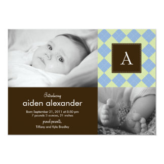 Chic Argyle Baby Boy Birth Announcement
