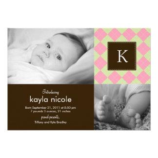 Chic Argyle Baby Girl Birth Announcement Invites