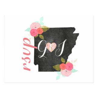 Chic Arkansas State Watercolor Floral Wedding RSVP Postcard