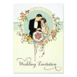Chic Art Deco 1920's Bride & Groom Wedding 13 Cm X 18 Cm Invitation Card