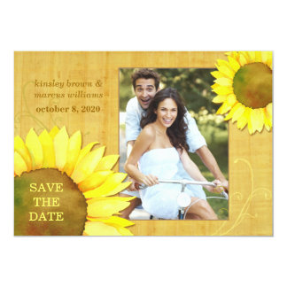Chic Autumn Sunflowers Floral Photo Save the Date 13 Cm X 18 Cm Invitation Card