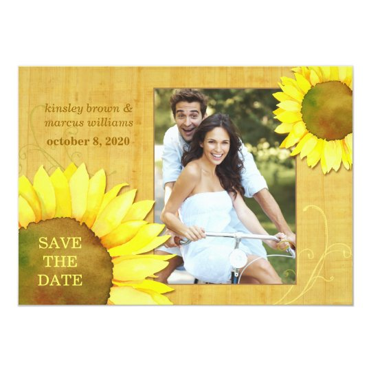 Chic Autumn Sunflowers Floral Photo Save the Date