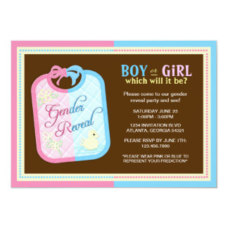 Chic Baby Bib Gender Reveal Party Card