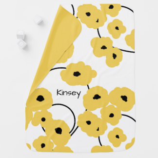 CHIC BABY BLANKET_MOD YELLOW  AND BLACK POPPIES BABY BLANKET