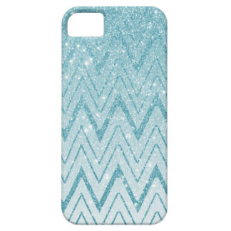 Chic Baby Blue Glitter Gradient Chevron Pattern iPhone 5 Cover