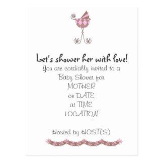 Chic Baby Coach Baby Shower Invitation Postcard