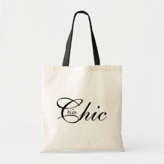 """CHIC BAG__""""tres Chic"""" BLACK TEXT ON NATURAL Budget Tote Bag"""