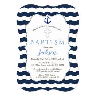 Chic Baptism Nautical Navy Waves Anchor Invite