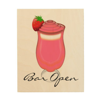 Chic Bar Open Sign Wood Canvases
