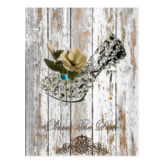 chic barn wood country wedding save the date postcard