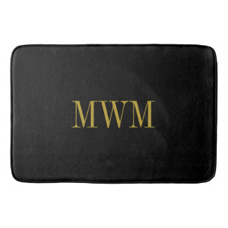 CHIC BATH MAT_BLACK SOLID/GOLD MONOGRAM BATH MAT