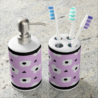 CHIC BATH SET-FUN GIRLY FLORAL ON LILAC SOAP DISPENSER AND TOOTHBRUSH HOLDER