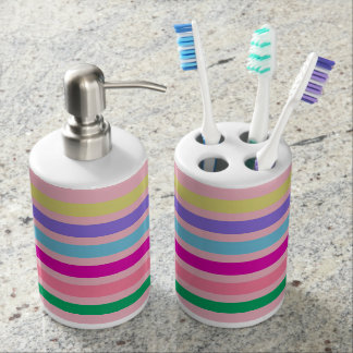 CHIC BATH SET_FUN PASTEL STRIPES ON PINK BATHROOM SET