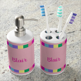 CHIC BATH SET_FUN PASTEL TILED STRIPES ON PINK BATHROOM SET