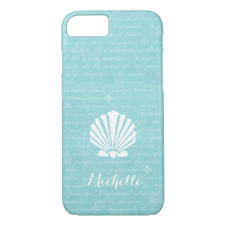 Chic Beach Girly Aqua Scallop Shell With Name iPhone 8/7 Case
