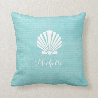 Chic Beach Girly Aqua Scallop Shell With Name Throw Pillow