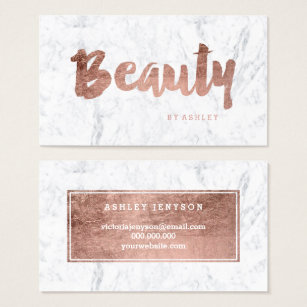 Beauty business cards zazzle uk chic beauty modern rose gold typography marble business card colourmoves Image collections