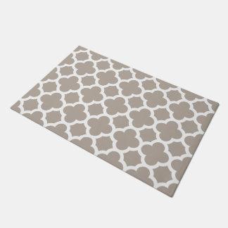 Chic Beige Gray Retro Cute Trellis Pattern Doormat