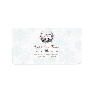 Chic Berries Bullfinch Winter Wreath Wedding Label