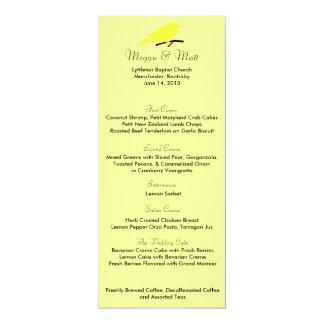 Chic Bird Silhouette & Dots Menu Card in Yellow 10 Cm X 24 Cm Invitation Card