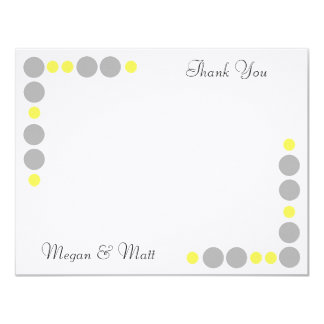 Chic Bird Silhouette & Dots Thank You Card-Yellow 11 Cm X 14 Cm Invitation Card