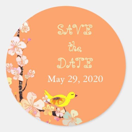 Chic Bird Tangerine Wedding Save the Date Stickers