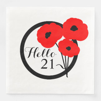 CHIC BIRTHDAY_MOD 21 RED POPPIES PAPER NAPKINS