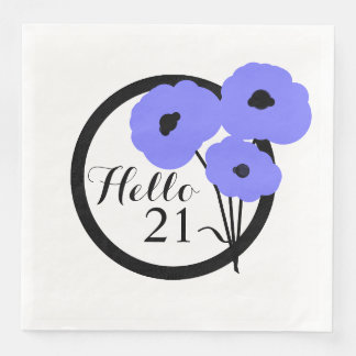 CHIC BIRTHDAY_MOD PERIWINKLE POPPIES PAPER NAPKINS