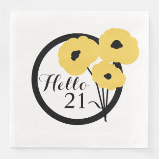 CHIC BIRTHDAY_MOD YELLOW  POPPIES PAPER NAPKIN