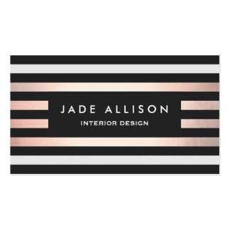 Chic Black and Copper Striped Interior Designer Pack Of Standard Business Cards