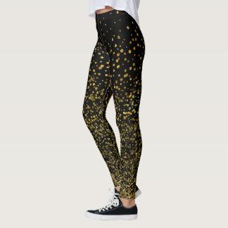 Chic Black and Gold | Faux Foil Confetti Dots Leggings