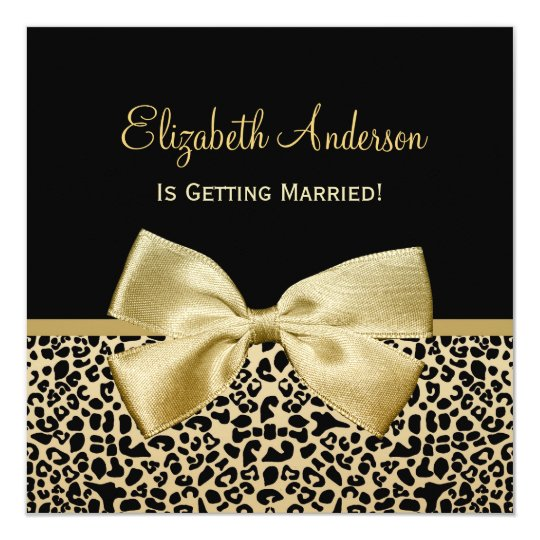 Chic Black and Gold Leopard Print Bridal Shower