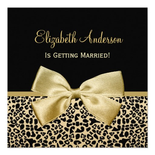 Chic Black and Gold Leopard Print Bridal Shower Personalized Invites