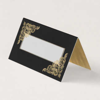 Chic Black and Gold Wedding Folded Place Card