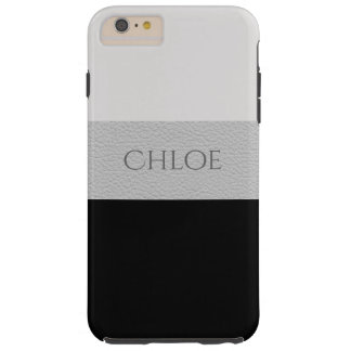 Chic Black And Grey Leather Style Designer Stripes Tough iPhone 6 Plus Case
