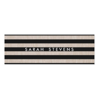 Chic Black and Linen Striped Modern Salon & Spa Pack Of Skinny Business Cards