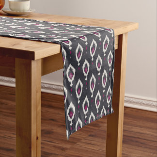 Chic black and purple ikat tribal patterns short table runner