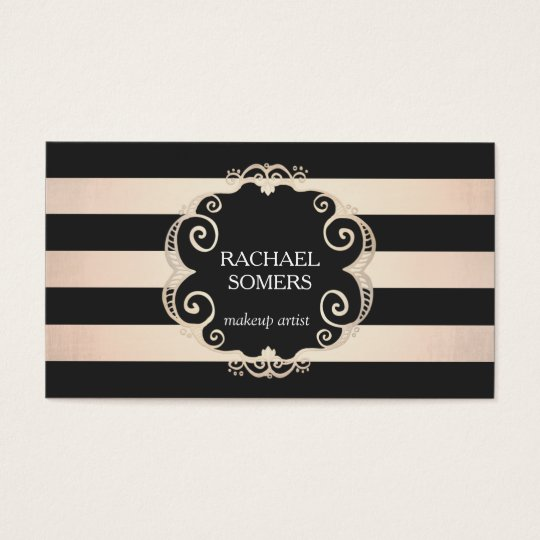Chic Black and Rose Gold Striped Beauty - no shine Business Card