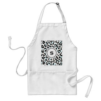 Chic black and white cheetah print monogram standard apron